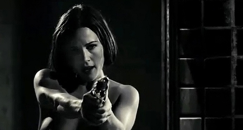 Carla Gugino is armed and naked in 'Sin City'