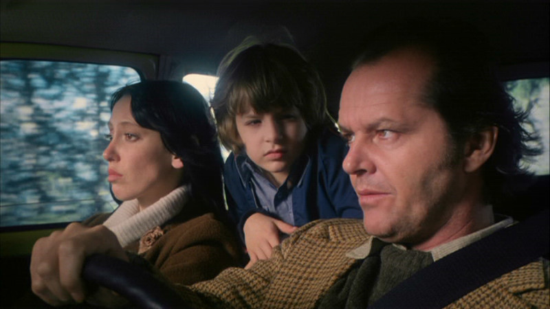 Shelley Duvall (left), Danny Lloyd and Jack Nicholson head to the Overlook Hotel in The Shining.